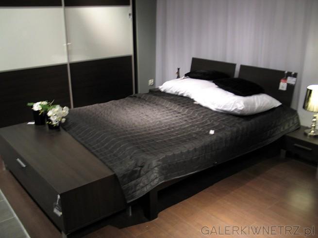 Sypialnia BRW Reset (system). - łóżko ALOZ 160 w kolorze wenge, szafki nocne i długa ...