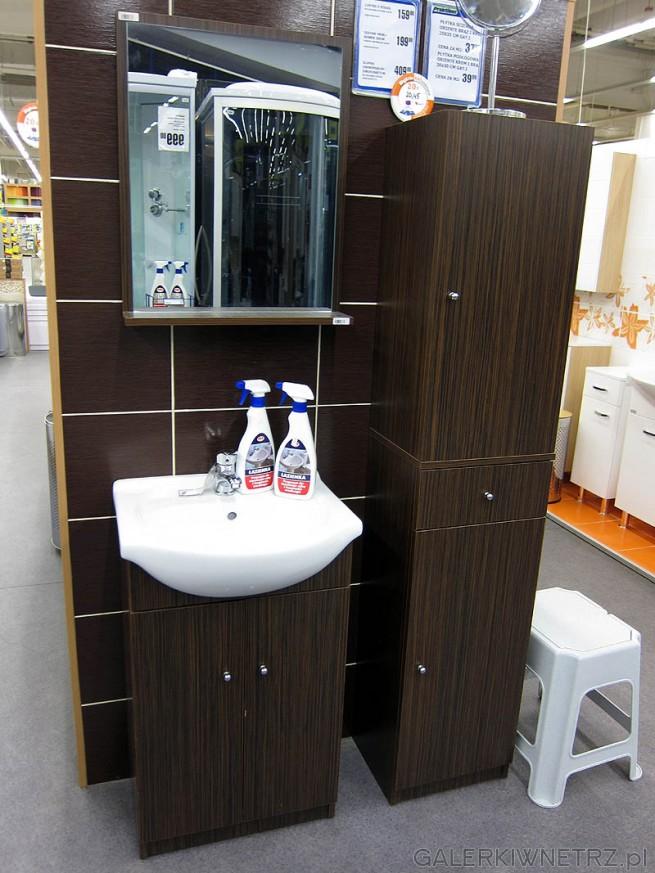 Zabudowa małej łazienki w kolorze brąz