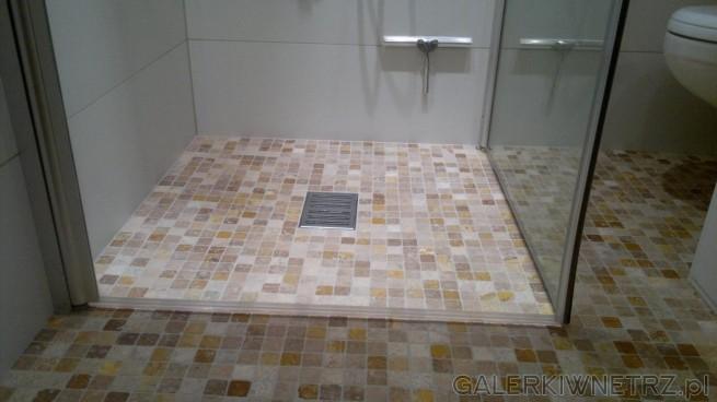 Na podłodze zastosowano mozaikę w różnych odcieniach brązu i beżu. Kabina prysznicowa ...