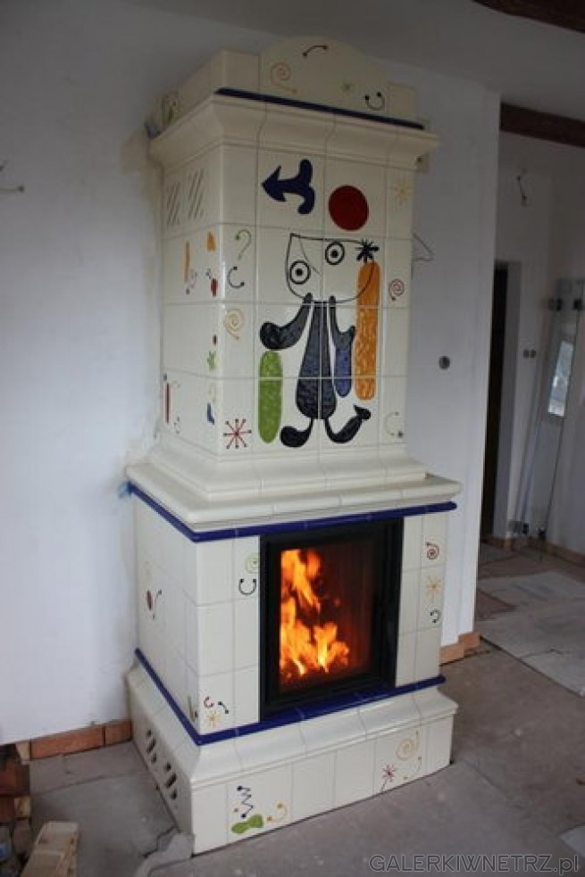 Niezwykły projekt z wykorzystaniem obrazu surrealisty Joan Miro. Jest to pieco-kominek ...