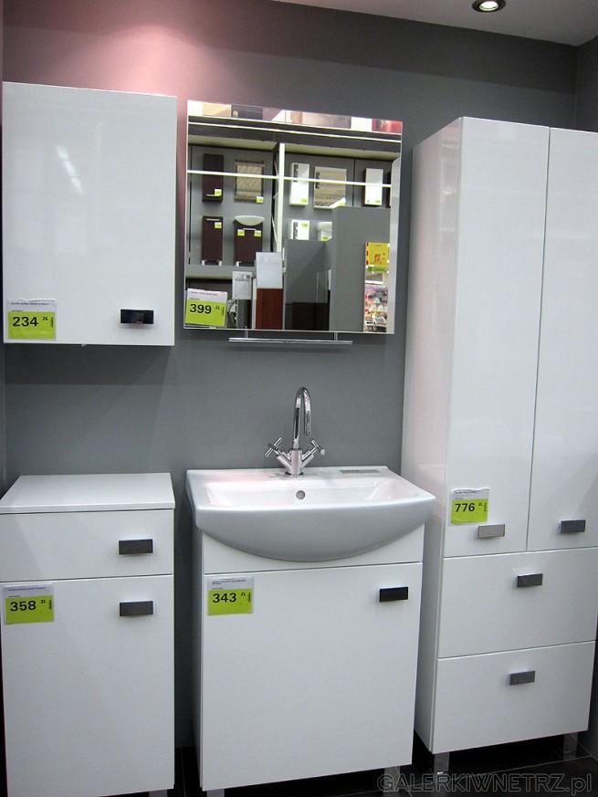 Praktyczny zestaw szafek łazienkowych korpus: biały połysk, front: biały połysk ...