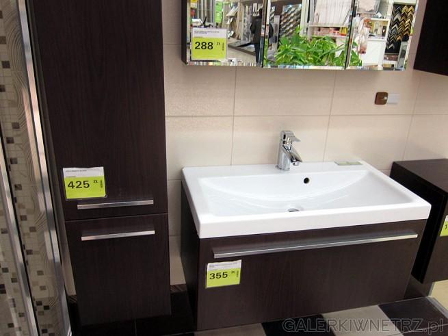 Słupek do łazienki 2 drzwiowy cena 425 pln, kolor wenge, metalowe uchwyty, szafka ...