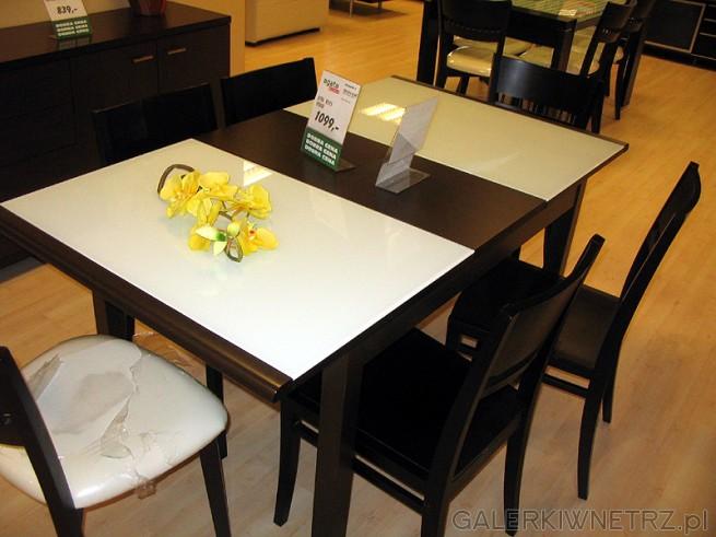 Stół Red Aplle R212 wybarwienie venge. Stół ma częściowo szklany blat z grubego ...