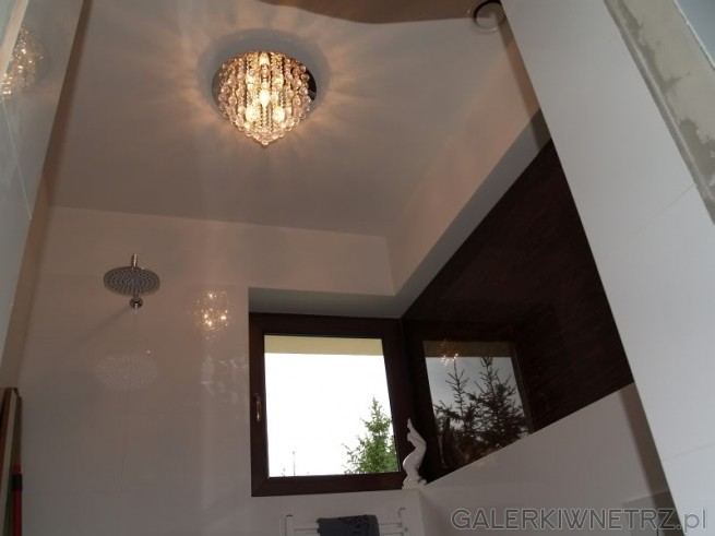 Biała łazienka z ciemnobrązowymi dodatkami. Ozdobny Żyrandol na suficie. Prysznic ...