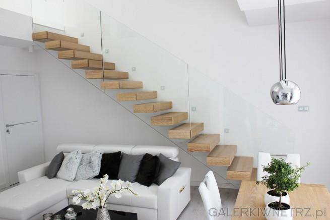 Prosty projekt schodów ze szkłem w roli głównej. Schody są jednobiegowe, wspornikowe, ...