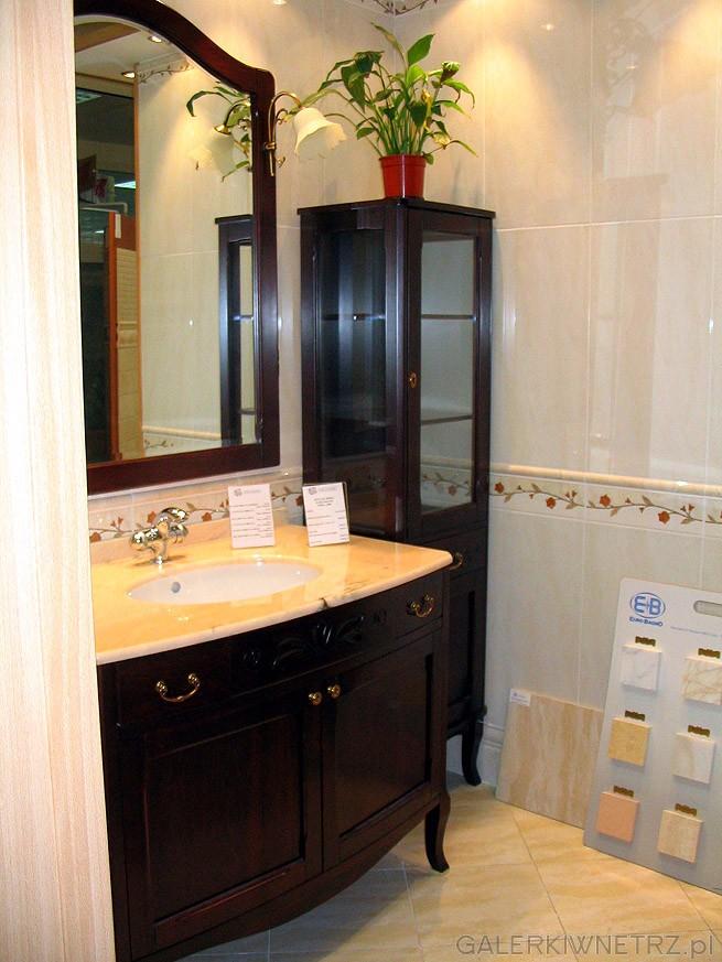 Umywalka z blatem marmurowym, lustro i serwantka. Zestaw raczej do dużej łazienki