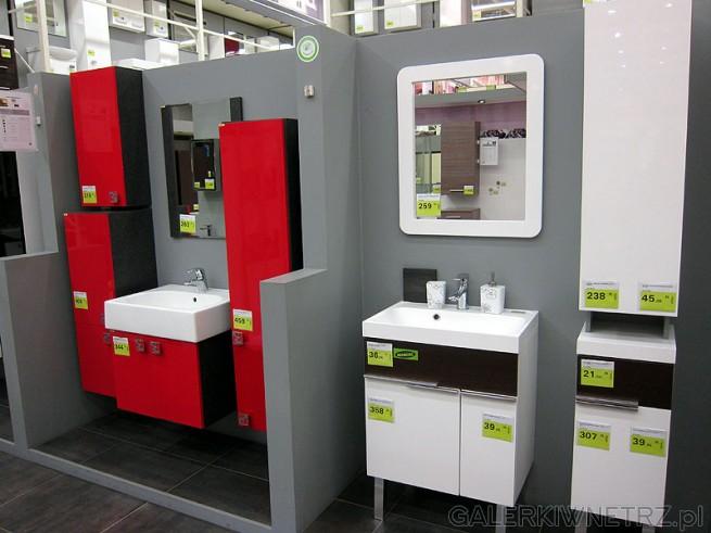 Zestaw szafek do łazienki fronty czerwone wykonane z płyty w połysku, korpusy czarne. ...