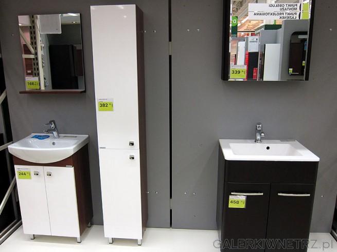 Zestaw mebli łazienkowych. Szafka pod umywalkę, słupek 2 drzwiowy korpus: tabaco, ...