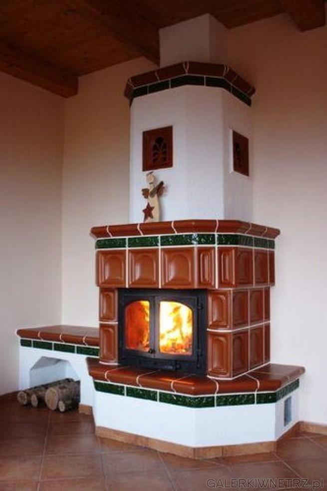 Projekt kominka kaflowo-szamotowego z konwekcyjnym wymiennikiem ciepła, z wkładem ...