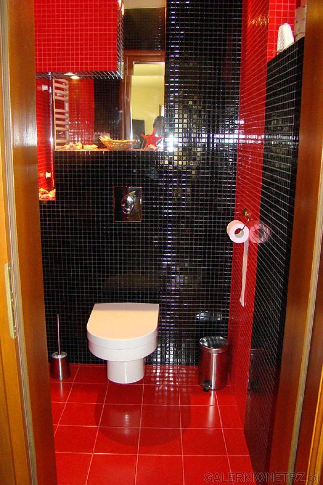 Ściana łazienki w mozaice z glazury. Zestawienie czerwieni i czerni, połysk. Muszla ...