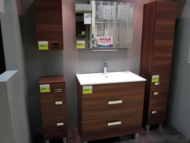 Meble łazienkowe. Szafka górna wisząca, półsłupek stojący z 3 szufladami, szafka ...