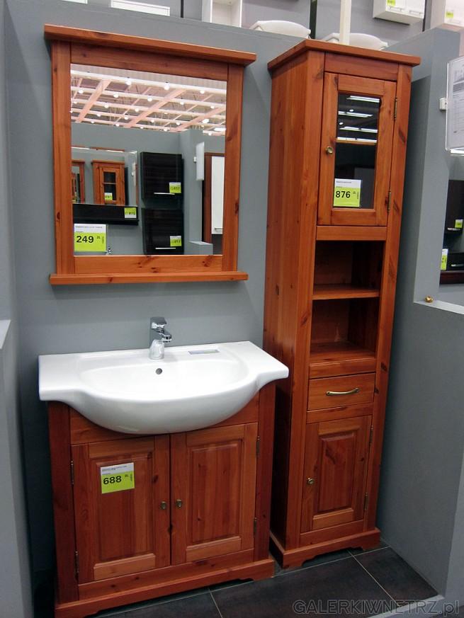 Zestaw łazienkowy: lustro cena 249 pln, szafka pod umywalkę 2 drzwiowa oraz słupek ...