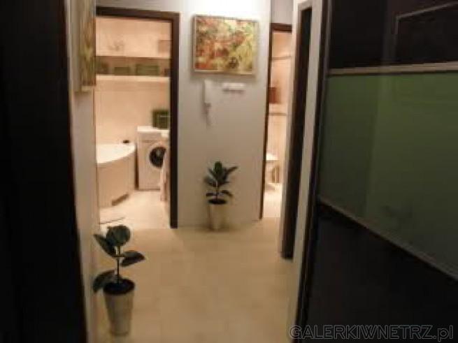 Łazienka tylko 3 m2 z pralką i wanną. Obok oddzielne WC. Praktyczny sposób dla całej ...