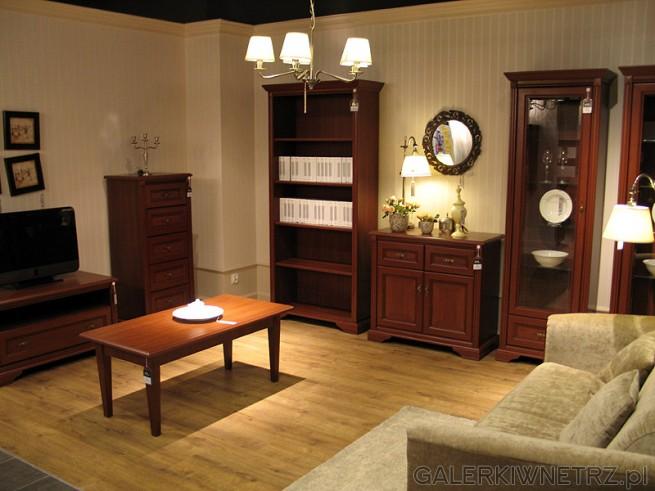 Kolekcja BRW Sentima: szafka RTV, stolik, regał na książki, komoda, serwantka.