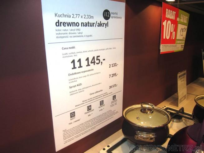 Aranżacja kuchni o wymiarach 2,77 x 2,33m w Agata Meble - drewno natur/akryl. Podstawowa ...