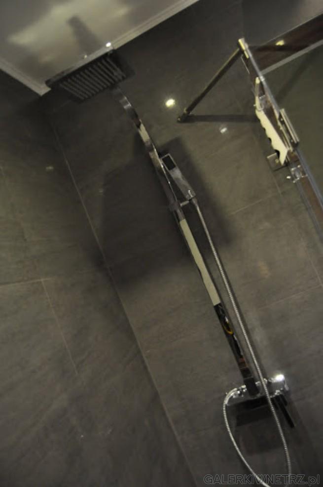 Prosty panel prysznicowy, główna dysza natryskowa osadzona aż pod sufitem, mniejsza ...