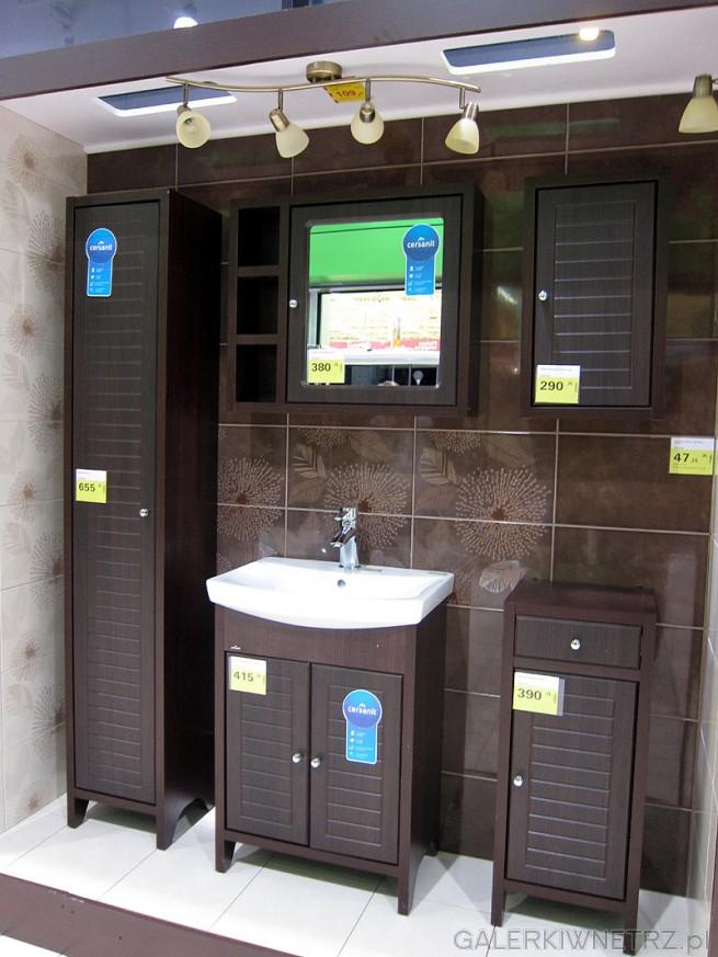 Meble do łazienki Mocca. Słupek 1 drzwiowy, szafka pod umywalkę 2 drzwiowa, szafka ...