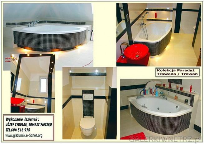 Kolekcja Paradyż Trawena Trowan - łazienki wykonane z wykorzystaniem tych glazur