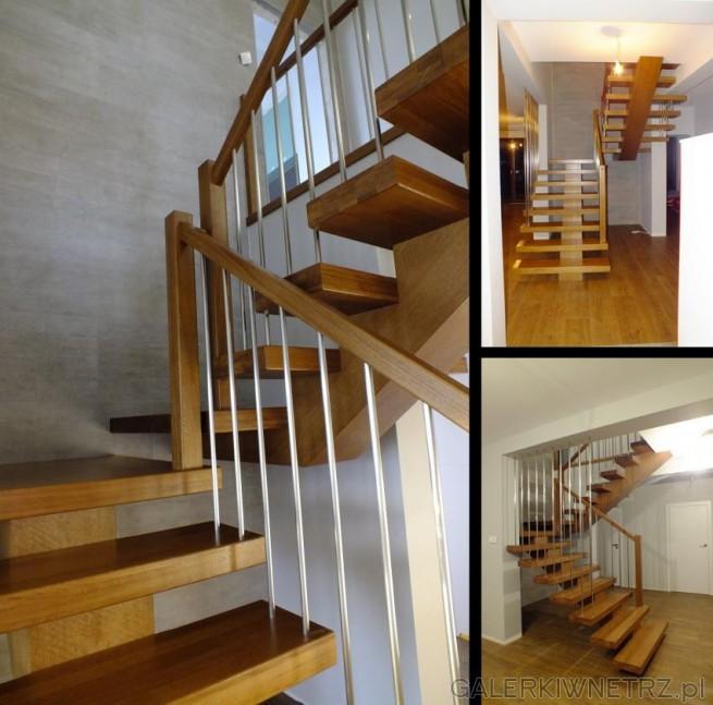Przykład klasycznych schodów ażurowych, ze złamaniem w połowie. Schody są w kolorze ...