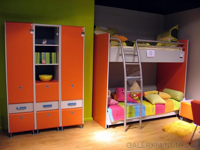 Meble dla dzieci BRW: pomarańczowa szafa z półką na książki. BRW - łóżko piętrowe ...