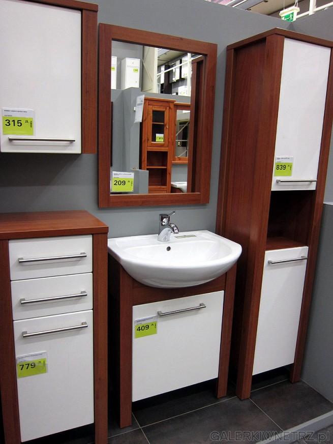 Jasne meble do każdej łazienki. Kolor szafek orzech z białymi fronyami i metalowymi ...