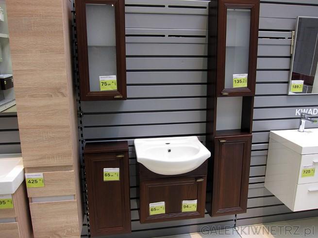 Drewniane meble do łazienki. Oferta sklepu Leroy Merlin na wiszące szafki łazienkowe, ...