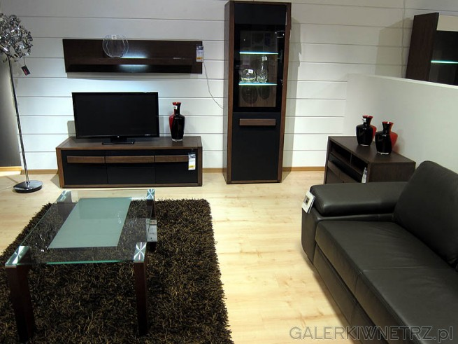 Zestaw do pokoju dziennego: sofa, stolik, półka, szafka RTV