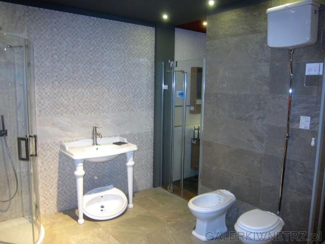 Elegancka aranżacja łazienki utrzymana w szarościach, brązach, beżach. Wszystkie ...