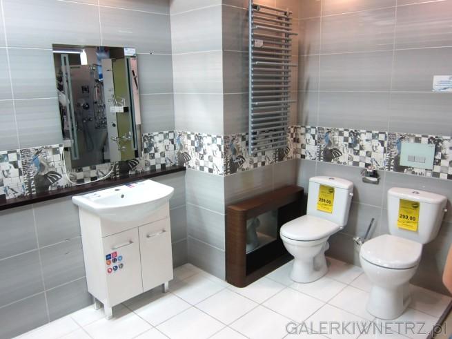 Zdjęcie łazienki przedstawiające bardzo ciekawą aranżację. Całość jest utrzymana ...