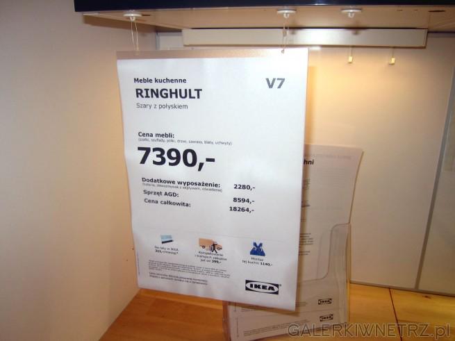 Meble kuchenne RINGHULT w kolorze szarości z połyskiem w cenie 7390 złotych, zaś ...