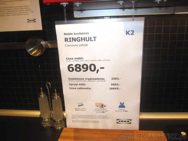 Meble kuchenne Ringhult w kolorze czerwieni z połyskiem za 6890 złotych (cena zawiera ...