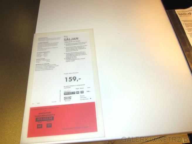 Biały blat SALJAN o wymiarach 186x3.8 cm w cenie 159 złotych.