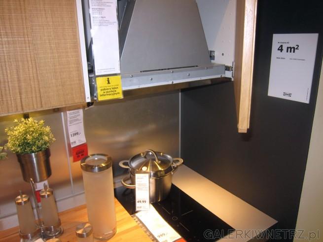 Propozycja jak zaprojektować kuchnięo metrażu 4 m2. Została to wykorzystana płyta ...