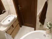 Mała łazienka 3m2 Alabastrino Tubądzin projekt krystynajoanna