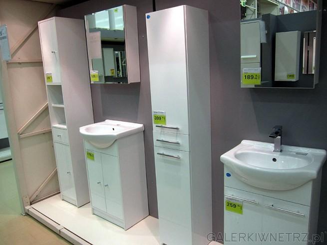 Elementy mebli łazienkowych słupki wysokie, szafki pod umywalkę z metalowymi, ...