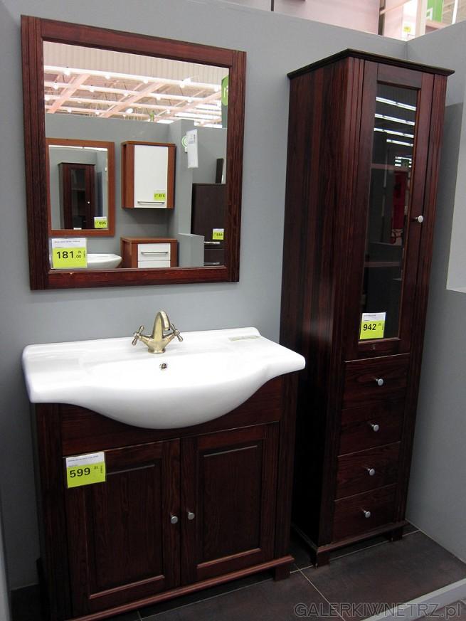 Meble do łazienki retro: lustro w ramie cena 181 pln, szafka podumywalkowa, słupek ...
