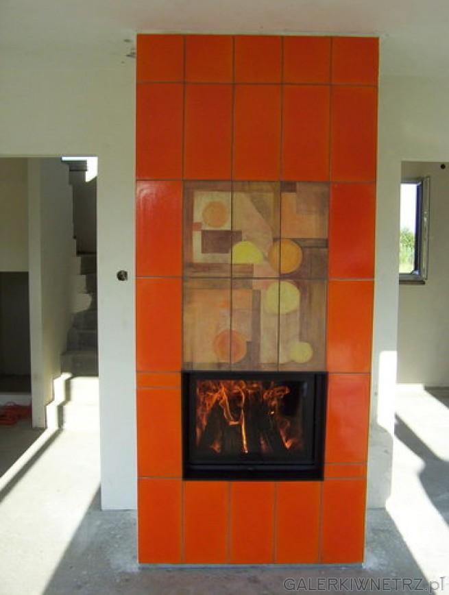 Energetyczny, pełen radości kominka z kaflami Kafel-Art w kolorze pomaranczowym, ...