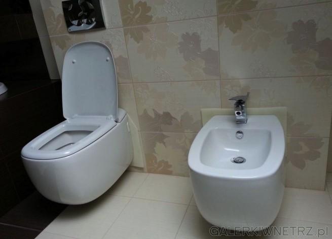 Na ścianie, na której zawieszona jest miska WC podwieszana oraz bidet. Oba urządzenia ...