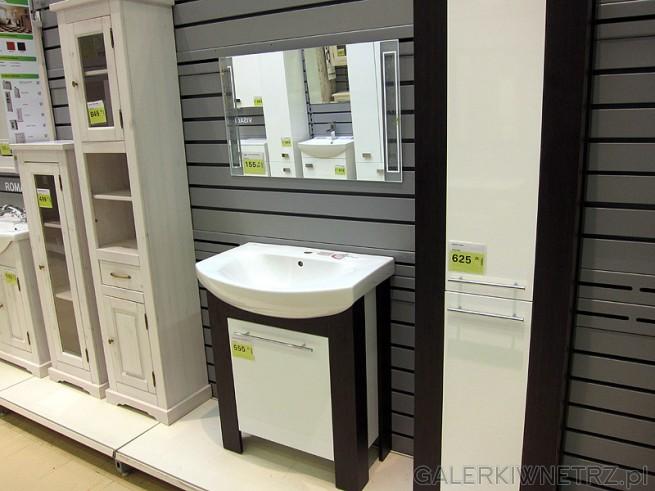Biało-czarny słupek łazienkowy w komplecie z szafką pod zlew. Wysoki słupek ...