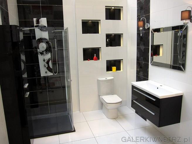 Klasyczna biało-czarna łazienka w eleganckiej wersji. Przezroczysta kabina, wykończona ...