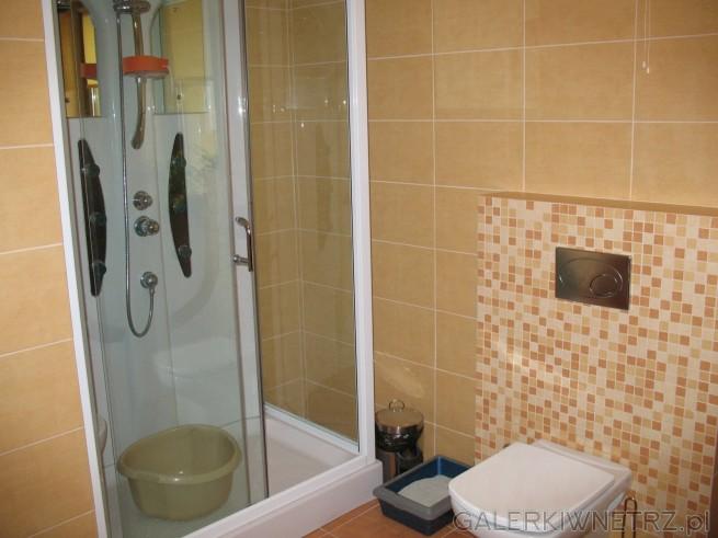 Kabina kwadratowa 90x80cm biała, WC podwieszany