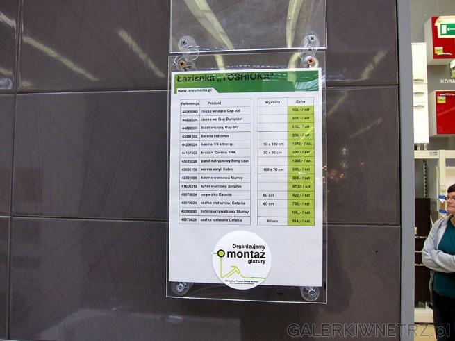 Cennik na produkty do łazienki w sklepie Leroy Merlin. Łazienka typu Yoshioka. ...