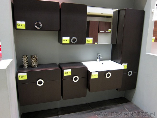 Zestaw mebli łazienkowych Cordoba. Szafka górna wisząca 1 drzwi klapowe, szafka ...