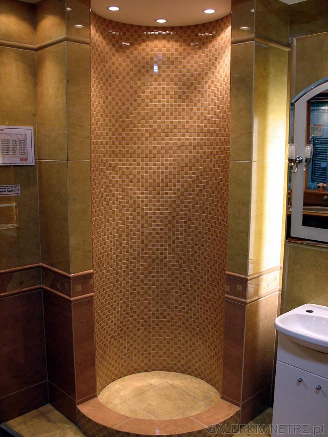 Okrągła kabina murowana. Wnętrze kabiny wyłożone mozaiką glazury. Mozaika Altamira ...