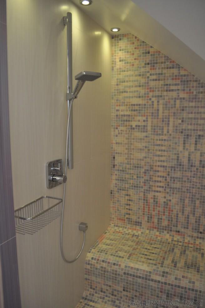 Prysznic pod skosem, z zaokrąglonym siedziskiem z którego spływa woda, wielkość ...