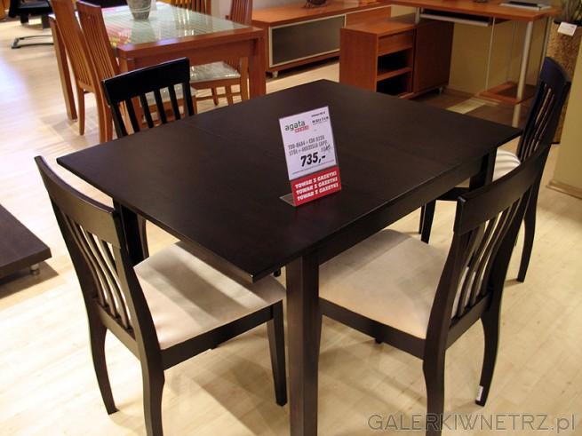 Stół + 4 krzesła i okazyjna cena. TDB-0484 CDK 0326. Krzesła Capp. Agata Meble