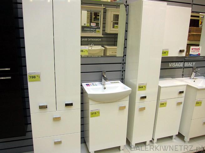 Białe meble do łazienki. Podwójny wysoki słupek w cenie 798 zł. Do tego szafka pod ...