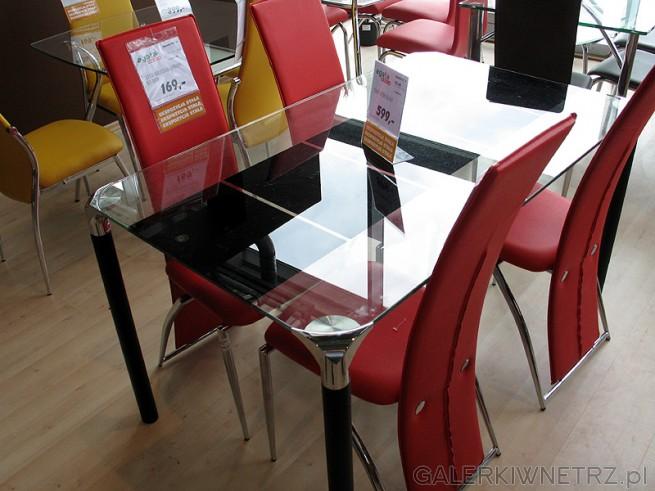 Stół ze szklanym blatem - szkło transparentne + kształt w kolorze czerni. Krzesła ...