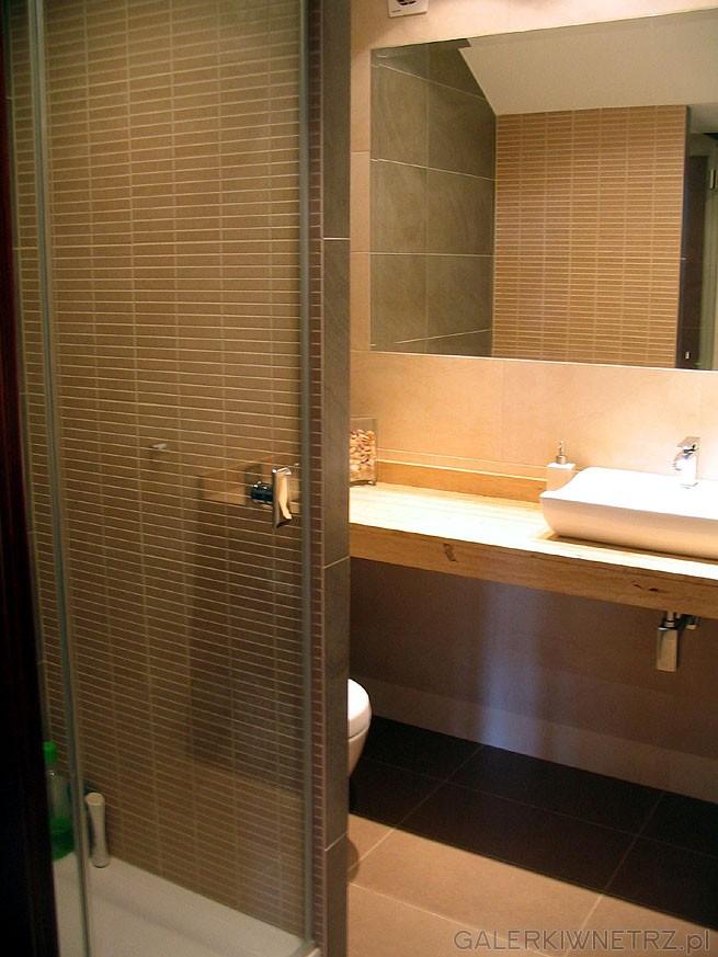 Prostokątna kabina prysznicowa a jej ściany są wyłożone hiszpańską glazurą ...