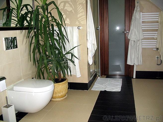 Podwieszany WC. Glazury i terakota są w kolorze ecru. Przeszklone drzwi nie ograniczają ...